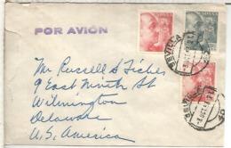SEVILLA 1953 CC A USA SELLOS FRANCO DE PERFIL CON 2 SELLOS DE 4 PESETAS - 1931-Hoy: 2ª República - ... Juan Carlos I