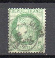 - FRANCE N° 53b Oblitéré CAD - 5 C. Vert-jaune S. Azuré Type Cérès 1872 - TRAIT INFÉRIEUR DU CADRE BRISÉ - Cote 110 EUR - 1871-1875 Ceres