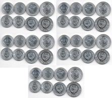 Korea North - 5 Pcs X Set 4 Coins *1* + *1 + *5 + *10 Chon 1959 UNC 1 1 5 10 Stars Lemberg-Zp - Korea (Nord-)