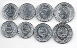 Korea North - Set 4 Coins *1* + *1 + *5 + *10 Chon 1959 UNC 1 1 5 10 Stars Lemberg-Zp - Korea (Nord-)