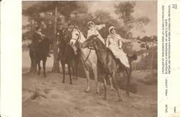 CAVALIER ET AMAZONES DAND LES DUNE D'ARCACHON - FORMATO PICCOLO - VIAGGIATA 1929 - (rif. H13) - Arcachon