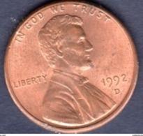 """USA 1 Cent, 1992 Penny Di Grano, Lincoln Marchio Di Zecca """"D"""" - Denver - Emissioni Federali"""