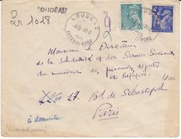 FRANCE TàD Type A5 / H2a LOUDEAC COTES DU NORD +griffe Recommandé Provisoire +Paris RP Poste Restante Au Dos -Iris Paix - Marcophilie (Lettres)