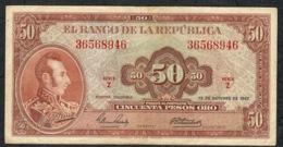 COLOMBIA P402b 50 PESOS ORO  12.10.1967 Serie Z     VF      NO P.h. - Colombia
