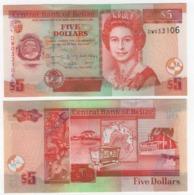 Belize - 5 Dollars 2016 Pick 67 UNC New Date Lemberg-Zp - Belize