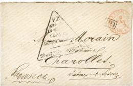 1877 NOUVELLE CALEDONIE MARQUE TRIANGULAIRE DE FORTUNE SUITE A UN MANQUE DE TIMBRE Sur Env. Pour Charolles En France. - Neukaledonien