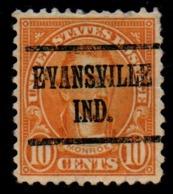 """USA Precancel Vorausentwertung Preo, """"EVANSVILLE"""" (Ind). - Stati Uniti"""