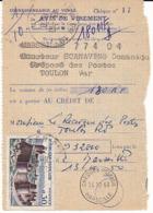 FRANCE Formulaire AVIS DE VIREMENT Secap 666 CHEQUES POSTAUX MARSEILLE 1960 + TàD TOULON PPAL VAR S/timbre Fougères - Postdokumente