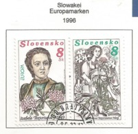 Slowakei / Slovensko 1996  Mi.Nr. 250 / 251 , EUROPA CEPT Berühmte Frauen - Gestempelt / Fine Used /(o) - 1996