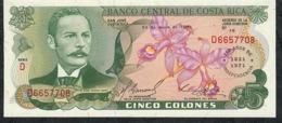 COSTA RICA  P247 5  COLONES  20.3.1975  XXVth Anniversary Bank UNC. - Costa Rica