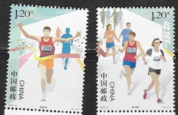 CHINA, 2019, MNH, SPORTS, MARATHON,2v - Stamps