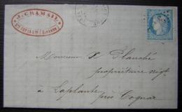 Sainte Foy La Grande 1872 J Cramail, Cachet Rouge - 1849-1876: Periodo Clásico