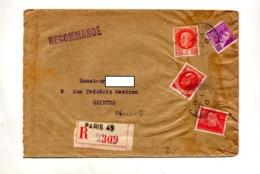 Lettre Recommandée Paris 49 Sur Patain Mercure - Postmark Collection (Covers)