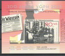 """Österreich 2019: Block """"100 J. Frauenwahlrecht"""" Gestempelt (s.Foto) - 1945-.... 2. Republik"""