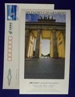 Germany Brandenburg Gate,Splendid G20 Members,China 2006 G20 Hangzhou Summit Advertising Pre-stamped Card - Monuments