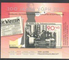 """Österreich 2019:  Block """"100 J.Frauenwahlrecht"""" Postfrisch (siehe Foto) - 1945-.... 2. Republik"""