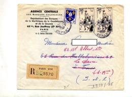 Lettre Recommandée Paris XVII Sur Basket Entete Banque Martinique Guadeloupe Guyane - Postmark Collection (Covers)