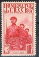 Sello Viñeta HOMENATGE A La URSS 1937, 10 Cts Guerra Civil. Exercit Roig * - Republikanische Ausgaben