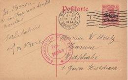 Bruxelles 10/12/14 Vers Westphalie - Censure Rouge De Cologne - German Occupation