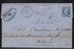 France, Landes - GC 1909 De Lebouheyre Avec Càd 22 Sur LSC De 1863 - Poststempel (Briefe)