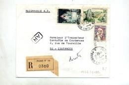 Lettre Recommandée Paris 53 Sur Cocteau Carnac Provins - Marcophilie (Lettres)