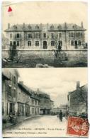 RARE CPA Double Vue - Environs Aurillac ARPAJON ( Sur Cère ) Vue Ecole Et Rue ? Animée - Voyagé 1910 - Arpajon Sur Cere