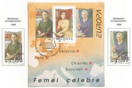 Republik Moldau / Moldova 1996  Mi.Nr. 210/211 + Block 9 , EUROPA CEPT - Berühmte Frauen - Gestempelt / Fine Used / (o) - 1996
