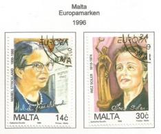 Malta 1996  Mi.Nr. 983 / 984 , EUROPA CEPT - Berühmte Frauen - Gestempelt / Fine Used / (o) - 1996