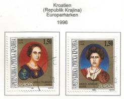 Kroatien (Republik Krajina) 1996  Mi.Nr. 59 / 60 , EUROPA CEPT - Berühmte Frauen - Gestempelt / Fine Used / (o) - 1996