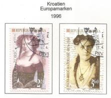 Kroatien  1996  Mi.Nr. 375 / 376 , EUROPA CEPT - Berühmte Frauen - Gestempelt / Fine Used / (o) - 1996