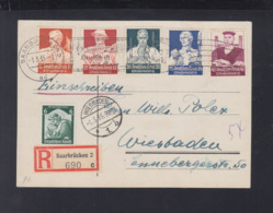 Dt. Reich R-PK 1935 Saarbrücken Nach Wiesbaden - Briefe U. Dokumente