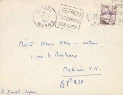 MAROC MOROCCO DEVANT DE LETTRE OB. DAGUIN SEFROU 1953 SES CERISES SES LACS POUR MEKNES TB - Marocco (1891-1956)