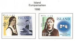 Island 1996  Mi.Nr. 844 / 845 , EUROPA CEPT - Berühmte Frauen - Gestempelt / Fine Used / (o) - 1996
