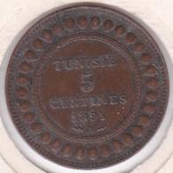 PROTECTORAT FRANCAIS. 5 CENTIMES 1891 A. BRONZE - Tunesien