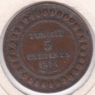 PROTECTORAT FRANCAIS. 5 CENTIMES 1891 A. BRONZE - Tunisie