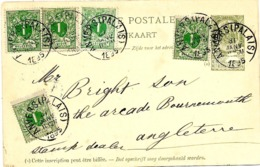 SH 0091. EP 23 + TP 26 (5) ANVERS (PALAIS) 31 JANV 1895 V. BOURNEMOUTH (Angl.). Bel Affr. MIXTE 1869/93 - Stamped Stationery