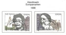 Älandinseln 1996  Mi.Nr. 113 / 114 , EUROPA CEPT - Berühmte Frauen - Gestempelt / Fine Used / (o) - 1996
