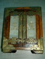 Boite à Bijoux Chinoise Chine En Palissandre , Cuivre Et Nacre .  2 Portes Et 3 Tiroirs - Art Asiatique