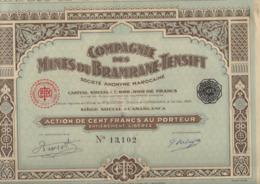 COMPAGNIE DES MINES DU BRAMRANE - TENSIFT-MAROC - LOT DE 3 ACTIONS DE 100 FRS - 1929 - Mines
