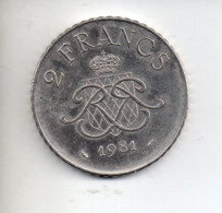 MON1 : Monnaie Coin MONACO 2 Francs 1981 - Monaco