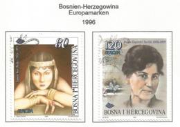 Bosnien-Herzegowina   1996  Mi.Nr. 45 / 46 , EUROPA CEPT Berühmte Frauen - Gestempelt / Fine Used / (o) - 1996