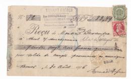 877/29 - Reçu En DOUBLE PRESENTATION TP 56 Et 74 NAMUR Station Mandats 1906 - Entete Truant Frères, Mosaiques, Cimentage - 1905 Grove Baard