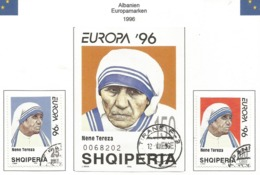 Albanien 1996  Mi.Nr. Block 107 + 2589 / 2590 , EUROPA CEPT - Berühmte Frauen - Gestempelt / Fine Fine Used / (o) - 1996