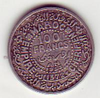 (Monnaies). Maroc. Morocco.  100 Fr 1953 / 1372 Argent - Maroc