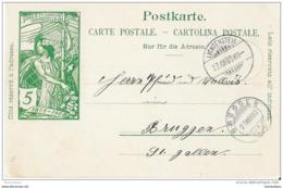 """57 - 68 - Entier Postal UPU Avec Superbes Cachets à Date """"Lichtensteig Et Bruggen"""" 1900 - Entiers Postaux"""