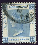 HONG KONG - 1862 12c Light Blue Queen Victoria - HK 3 USED - Hong Kong (...-1997)