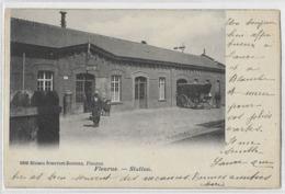 Fleurus  (19)  Attelage A L'entrée De Station (carte De Debut 1900) - Fleurus