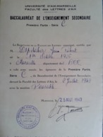 ADMISSION AU BACCALAURÉAT SÉRIE C Mention Passable  1943 Faculté Sciences Et Lettre Aix  Espitalier Marseille St Charles - Diplômes & Bulletins Scolaires