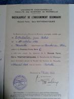 ADMISSION AU BACCALAURÉAT SÉRIE C Mention Passable  1944 Faculté Sciences Et Lettre Aix  Espitalier Marseille St Charles - Diplômes & Bulletins Scolaires