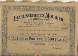 ACTION DE 500 FRS - ETABLISSEMENTS MOURIER -L .BARRAYA - ANNEE 1936 - Shareholdings